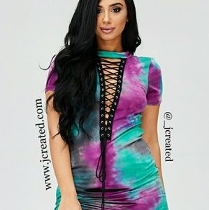 Purple & Turquoise Plus Size Tie Dye Dress Shirt